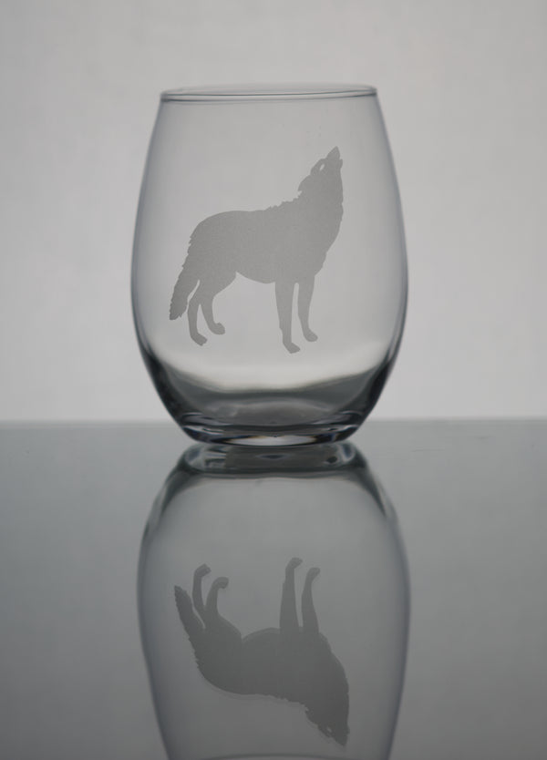 GL008W; 21oz Stemless Wine Glass w/Wolf