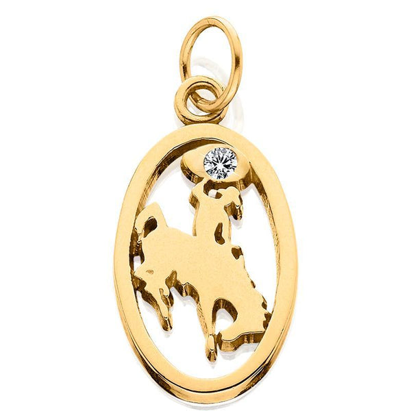 HC003D; 14K Yellow Gold Small Bucking Bronco Charm w/Diamond in Lasso