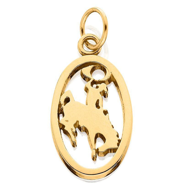 HC003; 14K Yellow Gold Small Bucking Bronco Charm