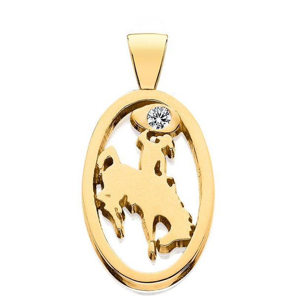 HC004D; 14K Yellow Gold Small Bucking Bronco Pendant w/Diamond
