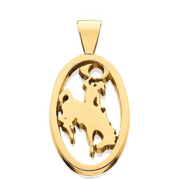 HC004; 14K Yellow Gold Small Bucking Bronco Bail Pendant