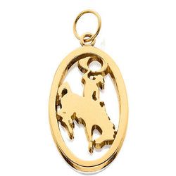 HC005; 14K Yellow Gold Large Bucking Bronco Charm