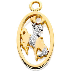 HC011; 14K Yellow Gold Small Bucking Bronco Pendant w/Partial Diamond Pave