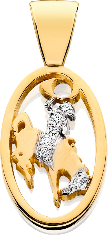 HC012D; 14K Yellow Gold Small Bucking Bronco w/Partial Diamond Pave