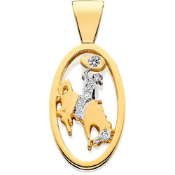 HC014D; 14K Yellow Gold Large Bucking Bronco Pendant w/Partial Diamond Pave and a Single Diamond in the Lasso