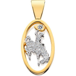 HC016D; 14K Yellow Gold Small Bucking Bronco Pendant w/Full Diamond Pave and a Single Diamond in the Lasso