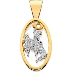 HC018D; 14K Yellow Gold Large Bucking Bronco w/Full Diamond Pave