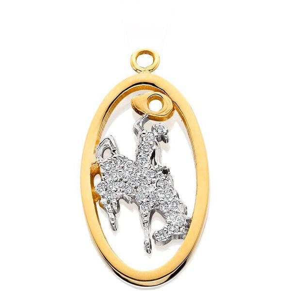 HC017; 14K Yellow Gold Large Bucking Bronco Charm w/Diamond Pave