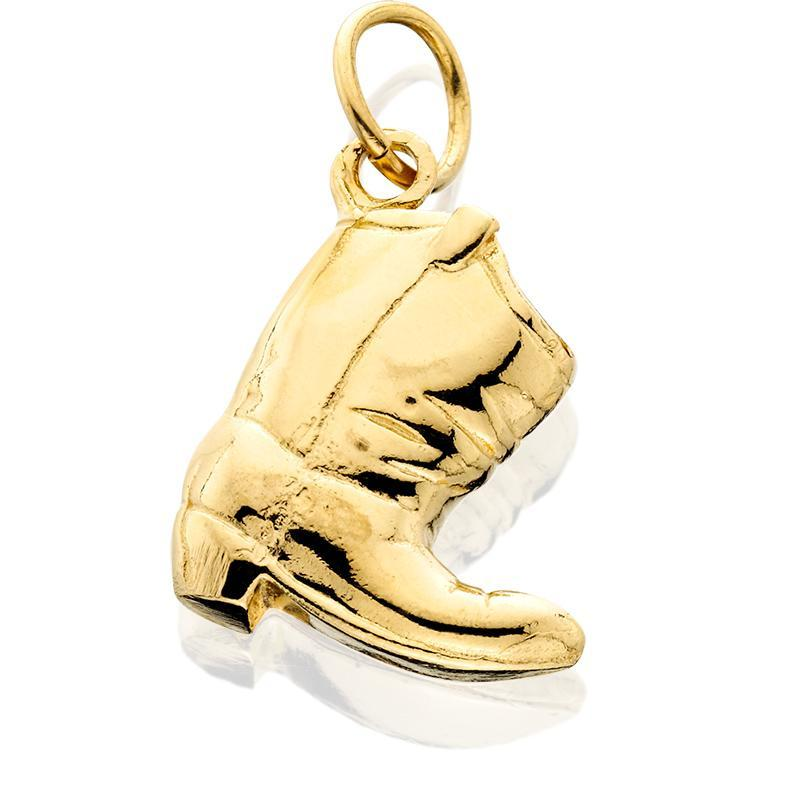 HC102; 14K Yellow Gold Small Scrunched Boot Charm