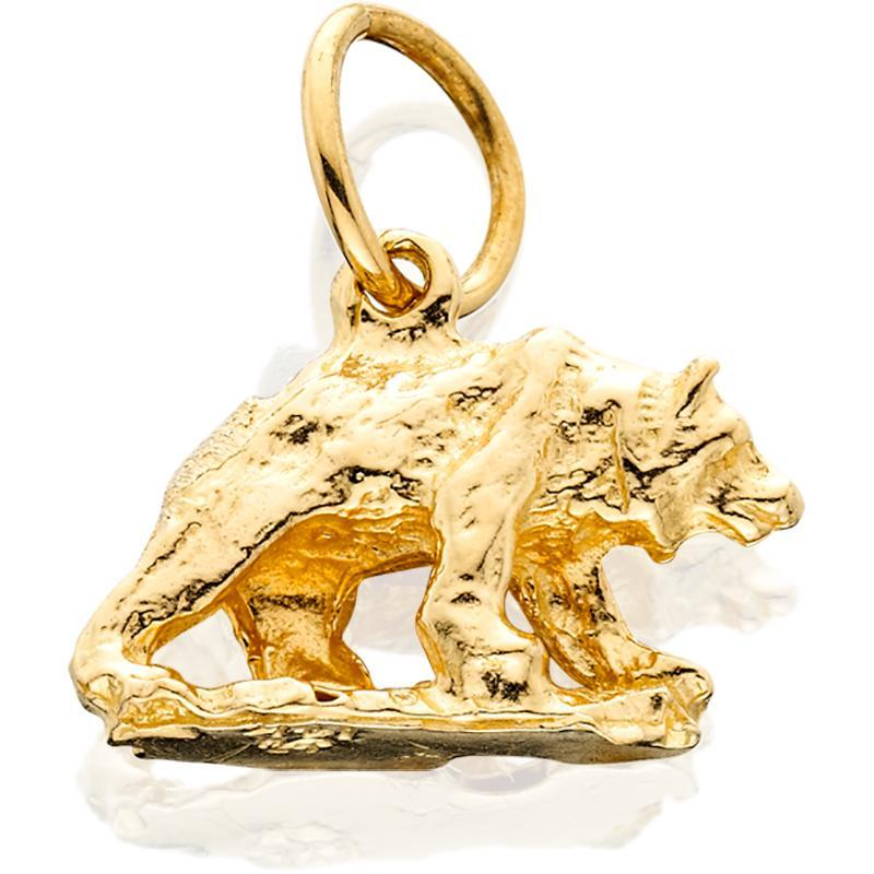 HC201; 14K Yellow Gold Small 3D Walking Bear Charm w/Base