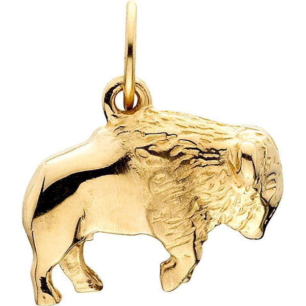 HC225; 14K Yellow Gold Small 3D Buffalo Charm
