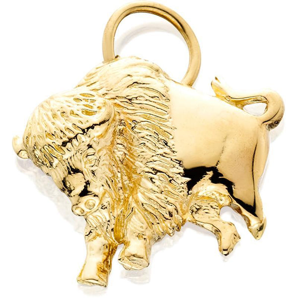 HC226; 14K Yellow Gold 2D Buffalo Charm