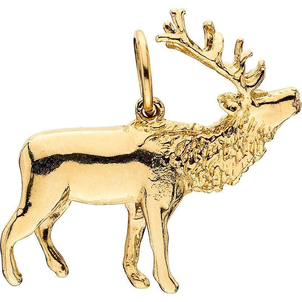 HC237; 14K Yellow Gold Large 3D Walking Elk Charm