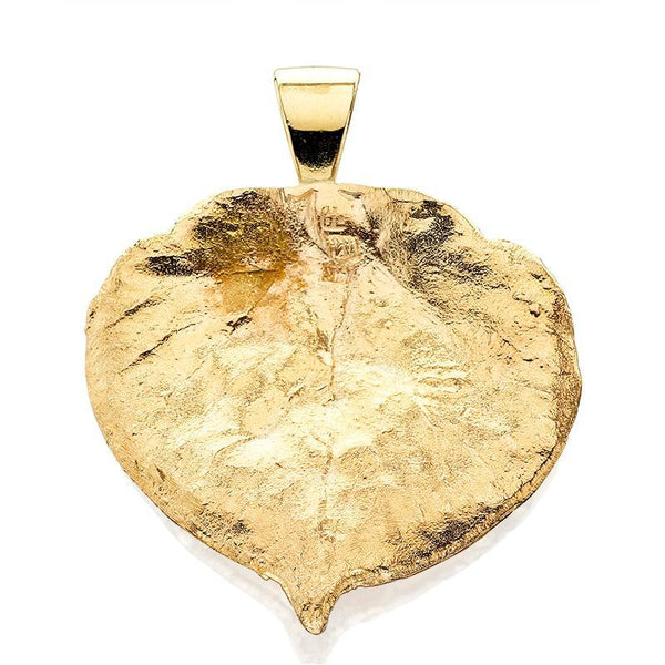 HC313; 14K Yellow Gold X-Large Aspen Leaf Pendant