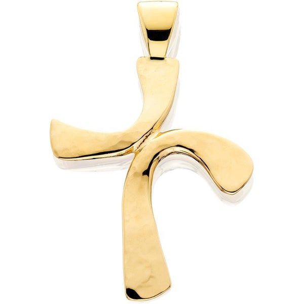 HC326; 14K Yellow Gold Medium Freeform Forged Cross Pendant