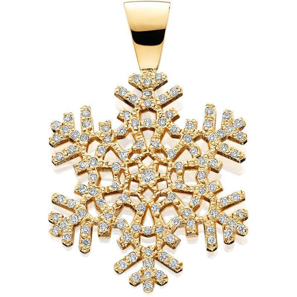 HC505D; 14K Yellow Gold Medium Snowflake Pendant w/Diamonds