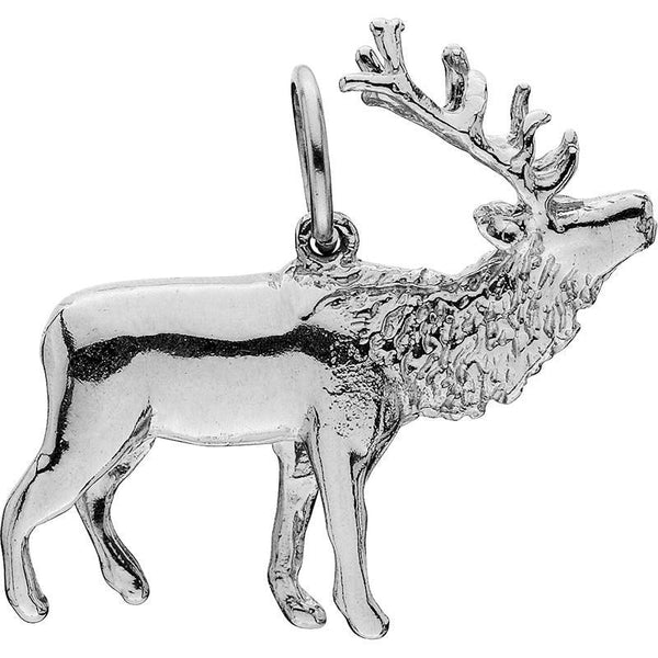 HCS237; Silver Large 3D Walking Elk Charm