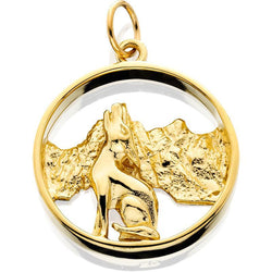HD027; 14K Yellow Gold Howling Coyote In Circle w/Textured Mountains