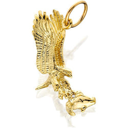 14KY Eagle/fish In Claws 3D J-Ring Charm