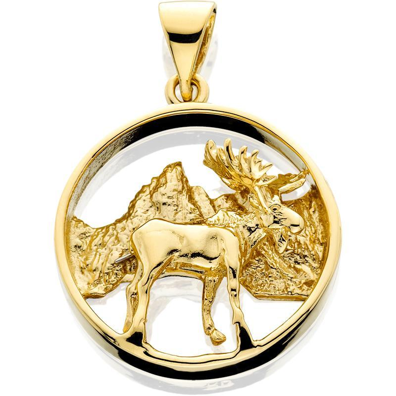 HD038; 14K Yellow Gold 3D Moose in Circle Pendant with Textured Mountains