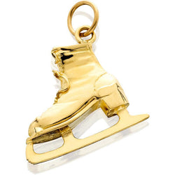 HD056; 14K Yellow Gold Large Figure Skate Charm