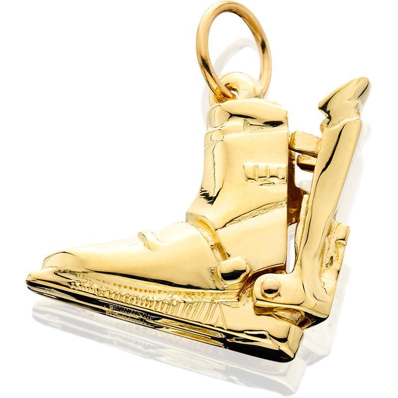 HD062; 14K Yellow Gold Large Hinged Rear Entry Ski Boot Charm