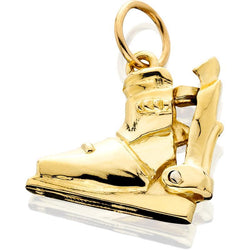 HD063; 14K Yellow Gold 3D Medium Ski Boot Charm w/Hinged Rear Entry