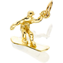 HD069; 14K Yellow Gold 3D Male Snowboarder Charm