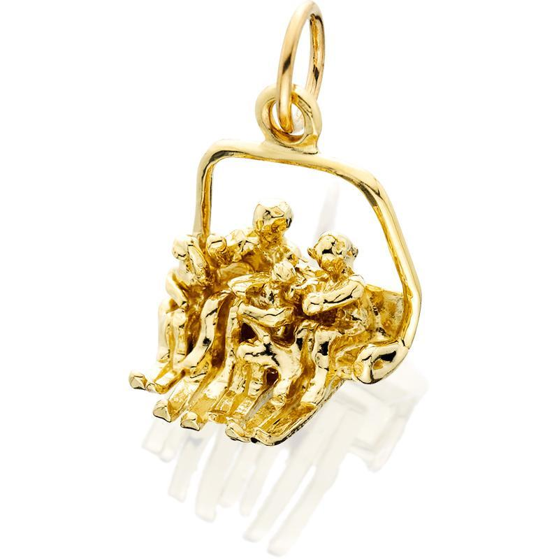 HD078; 14K Yellow Gold 3D Large Quad Chairlift Charm w/4 People