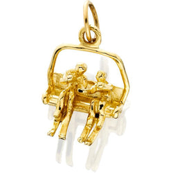 HD079; 14K Yellow Gold 3D Large Double Chairlift Charm w/2 People