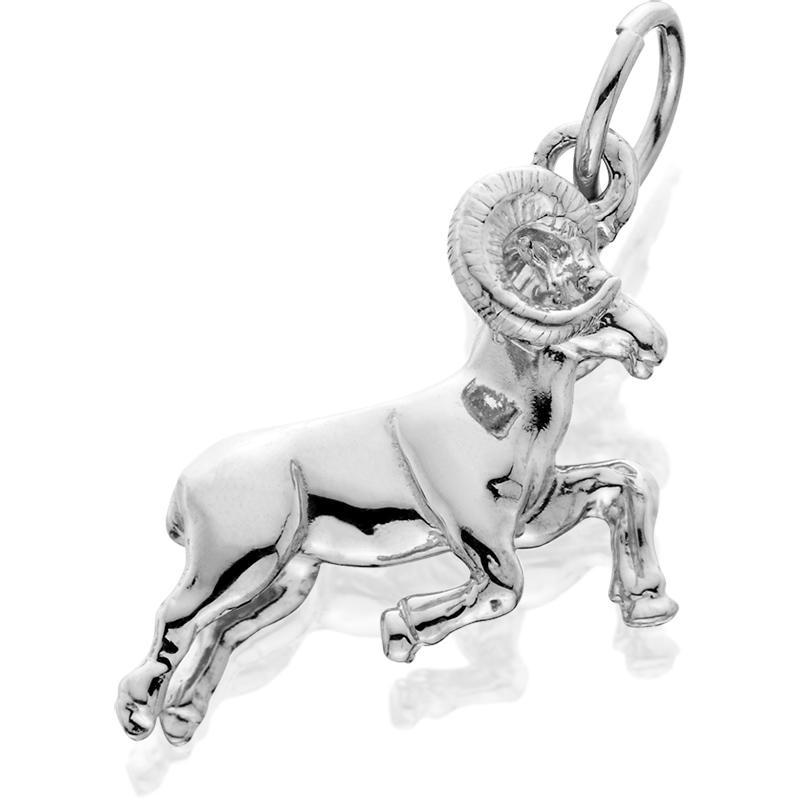 HDS030; Silver 3D Bighorn Leaping Ram Charm
