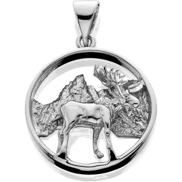 Silver Pendant Moose/mtns 3d in Circle Bail