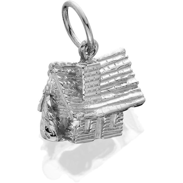 Silver Log Cabin Small 3d J-Ring