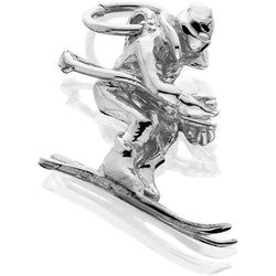 Silver Male Skier 3d Downhill J-Ring