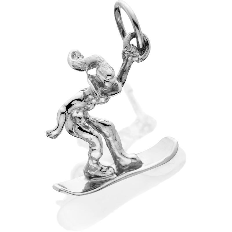 HDS068; Silver 3D Female Snowboarder Charm
