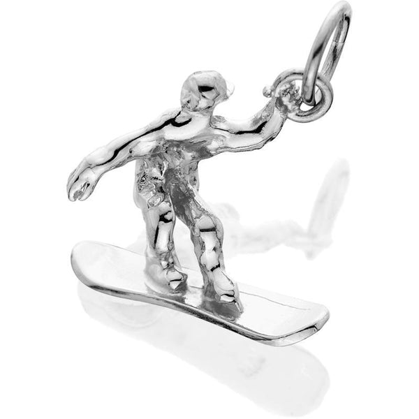 Silver Male Snowboarder 3d J-Ring