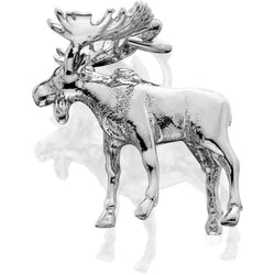 HDS087; Silver 3D Medium Moose Charm w/Large Antlers