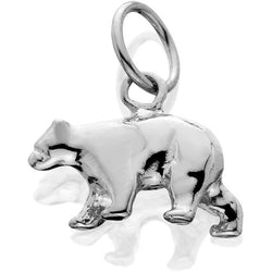HDS092; Silver 3D Medium Bear Walking Charm