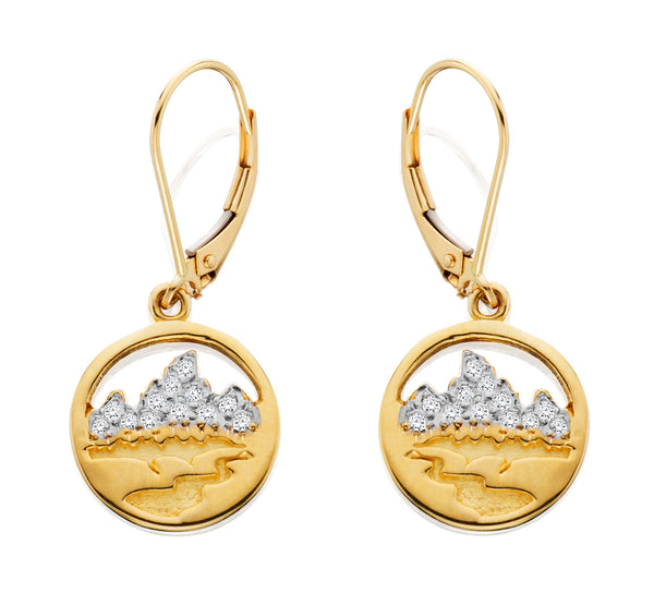 HE046; 14K Yellow Gold X-Small Teton Earrings w/Diamond Pave Mountains, Lever-back