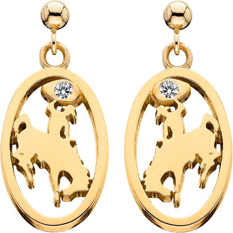 HE080D; 14K Yelow Gold Small Bucking Bronco Earrings w/Diamond in Lasso