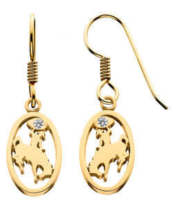 HE081D; 14K Yellow Gold Small Bucking Bronco Earrings w/Diamonds in Lasso, French Wires