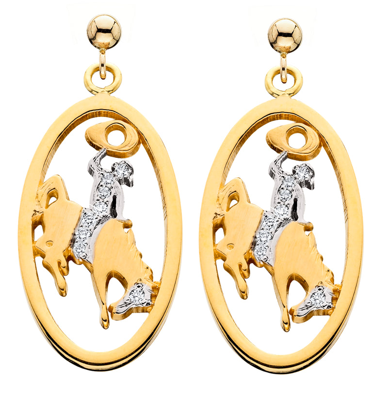 HE092; 14K Yellow Gold Large Bucking Bronco Earring w/Partial Diamond Pave