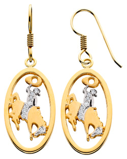 HE093; 14K Yellow Gold Large Bucking Bronco Earrings w/Partial Diamond Pave, French Wire