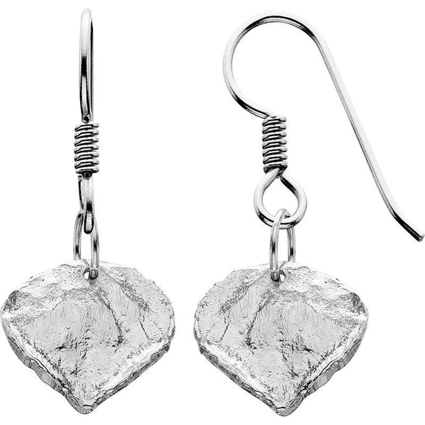 HES275; Silver Aspen Leaf Earrings, Small or Medium
