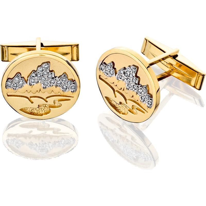 HG032D; 14K Yellow Gold  Teton Cufflink w/Pave Diamonds Mountains and Textured River