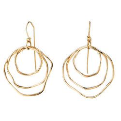 HG071; 14K Yellow Gold Hand Forged Triple Bangle Earrings, French Wire