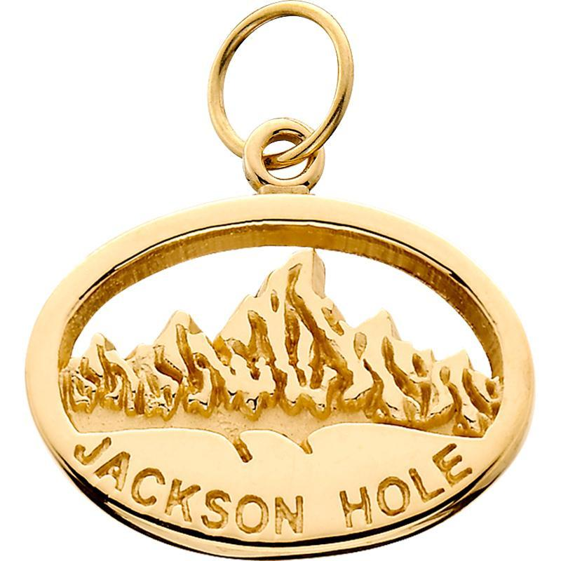 HP003; 14K Yellow Gold Small Oval 'Jackson Hole' Charm w/Textured Mountains
