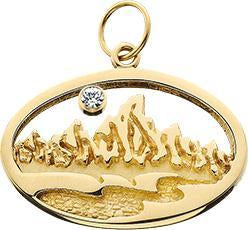 HP010; 14K Yellow Gold Large Oval Teton Charm w/Textured Mountains and River