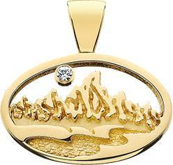 HP011; 14K Yellow Gold Large Oval Teton Pendant w/Textured Mountains and River