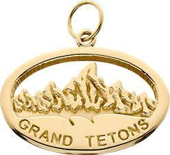 HP013; 14K Yellow Gold Large 'Grand Tetons' Oval Charm w/Textured Mountains